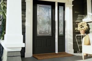 front door with decorative glass
