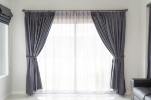 New grey window curtains